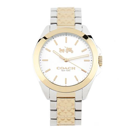 COACH 雙色不鏽鋼鍍金中性腕錶-金銀雙色