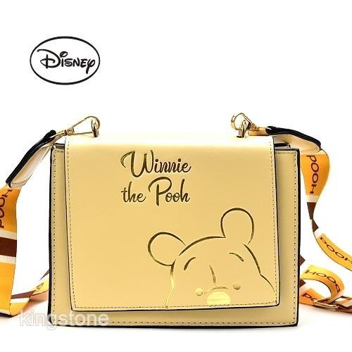 Disney【小熊維尼】燙金肩背包
