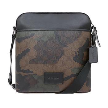 COACH 防刮PVC皮革斜背包-綠迷彩(現貨+預購)