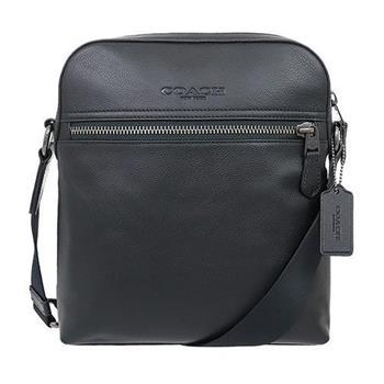 COACH 素面皮革側背包-黑 (現貨+預購)