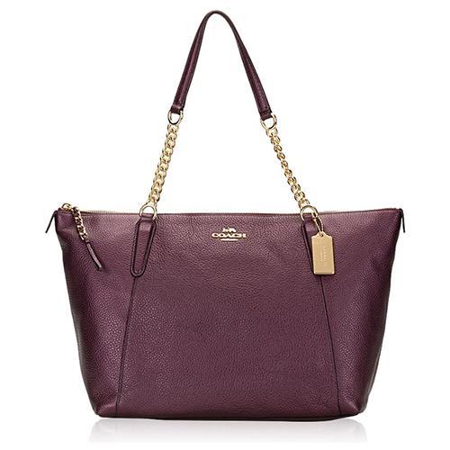 COACH 素面鍊條皮革側肩包-金屬紫 (現貨+預購)