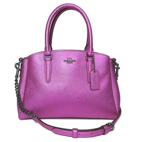 COACH 素面皮革兩用包-金屬紫 (現貨+預購)