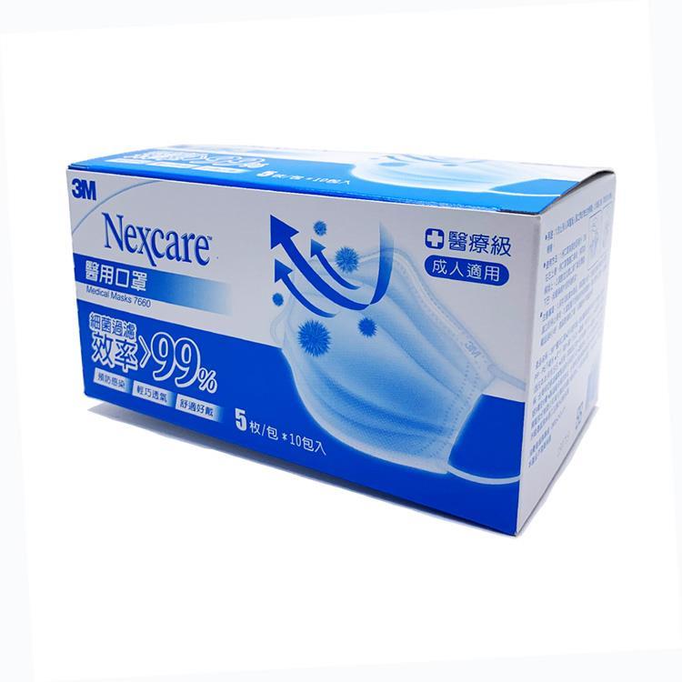 【3M】醫用口罩-成人用 藍色 盒裝50枚(口罩)