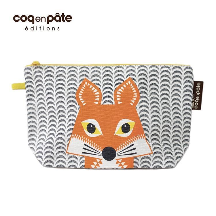 【COQENPATE】法國有機棉無毒環保化妝包 / 筆袋- 畫筆兒的家 - 狐狸