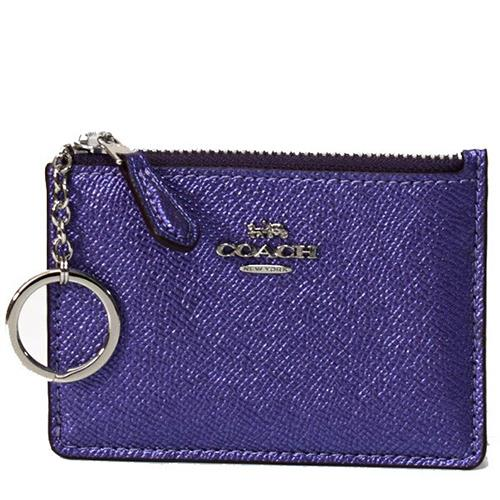 COACH 防刮皮革鑰匙零錢包-金屬深紫