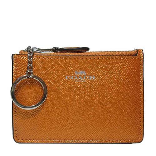 COACH 防刮皮革鑰匙零錢包-晶鑽桔