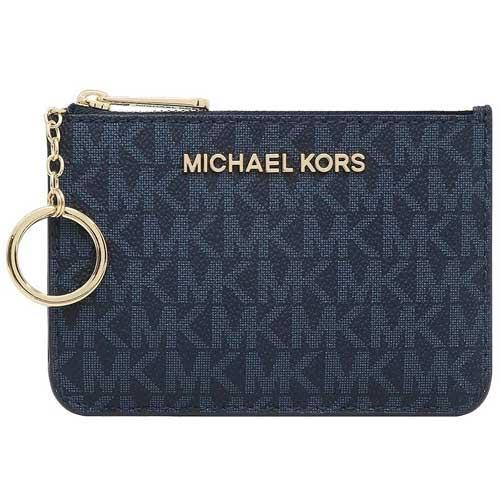 MICHAEL KORS 防刮logo卡夾零錢包-藍色(現貨+預購)