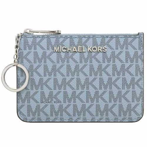 MICHAEL KORS 防刮logo卡夾零錢包-灰藍(現貨+預購)