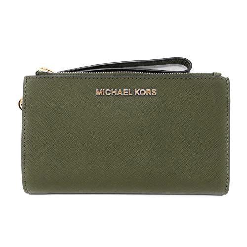 MICHAEL KORS 防刮皮革雙層手機長夾-橄欖綠