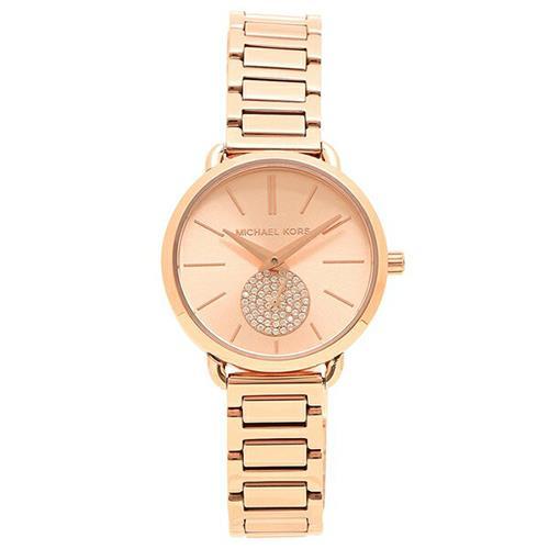 MICHAEL KORS 水晶鑲鑽不鏽鋼腕錶-玫瑰金