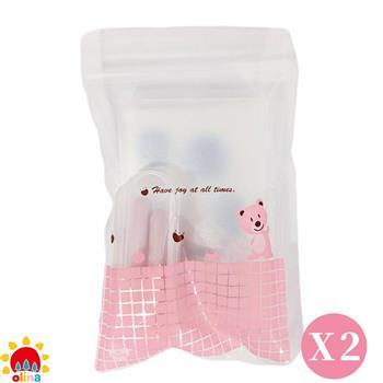 MOM'S【olina】SOFF 口罩減壓護套-乾燥玫瑰+收納夾~ 媽咪小粉熊組-2組