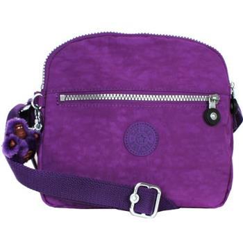Kipling 尼龍拉鍊三層包-紫色