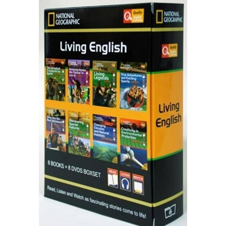 National Geographic: Living English (8 Books + 8 DVDS Boxset) 英語閱讀影音套書